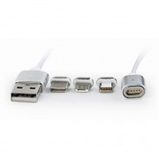 Кабель USB 2.0 1.0 m AM/Lightning/Micro/Type-C USB, 1.0 м Cablexpert CC-USB2-AMLM31-1M С магнит. ада